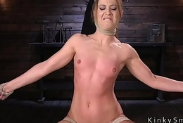 Toned blonde in ropes hard whipped