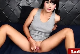 Classy ladyboy wanks waiting for she squirts cum