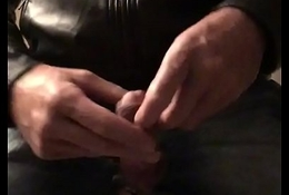 Jerking my oversexed cock in tight jeans and round ass