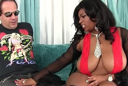 Big boobed black girl Ms Mirage loves beamy white cock