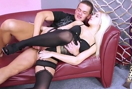 Bad blonde in stockings connexion strangers cum after fuck