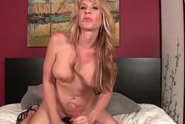 Handjob loving MILF playing with cock