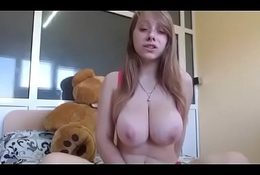 Super big tits girl shaking body with dildo inside