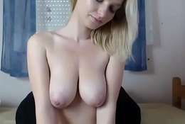 Gentle girl with big tits shows big ass too on cam