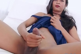 Long haired shemale masturbates her dick