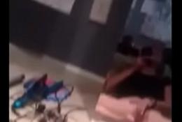 teen cums selfie in the mirror