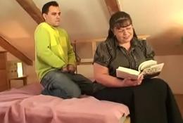Big boobs bookworm woman seduced by a guy