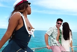 Big booty ebony captain bangs her client