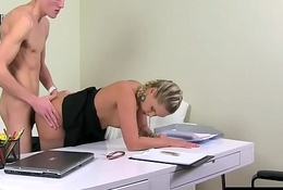 Casting agent pounded before sucking cock