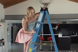 Deep close up anal with girlfriend exposed to ladder