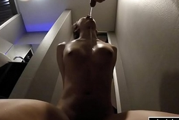 Ladyboy piss drenched and deepthroated in this fetish video