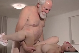 Teen Interrupts Grandpa from Yoga And Sucks his Cock dishevelled and hard