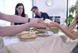 Mom Fucks Son &amp_ Eats Teen Creampie For Thanksgiving Treat