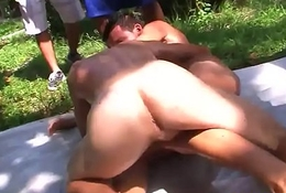 Real blissful fraternity assfucking outdoors