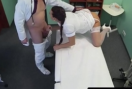 Doctor fucks amateur euro nurse doggystyle