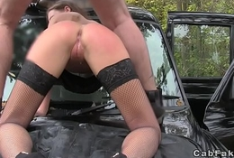 Green eyed hottie anal fucked regarding taxi