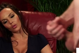Busty british voyeur instructing jerking subs