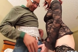 Tranny with hard dick takes in booty