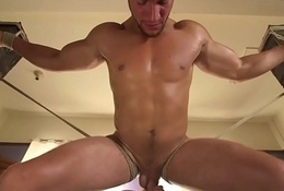 Edging bdsm sub tied to chair and jerked