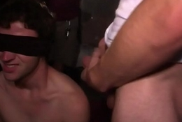 Blindfolded fraternity twink gets hazed