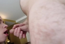 Busty Russian blonde sex-freak hooking near with internet friend in his hotel