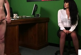 Stockinged british voyeur humiliating her sub