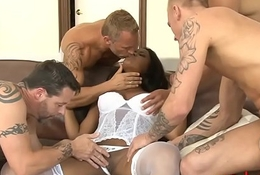Big boobs ebony ass gangbanged by white guys
