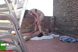 Fucking his girl by the ass on the floor of the terrace ADR0232