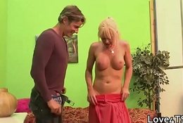 Shemale Jo Jet takes two cocks in one hole